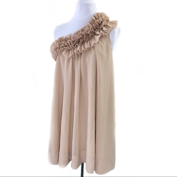 02f2abd72f8df H M Dresses   Skirts - H M Blush Pink Nude Ruffle Shift Tent One Shoulder